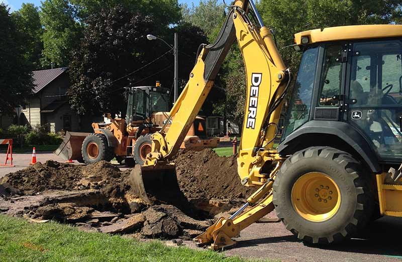 Street department digging