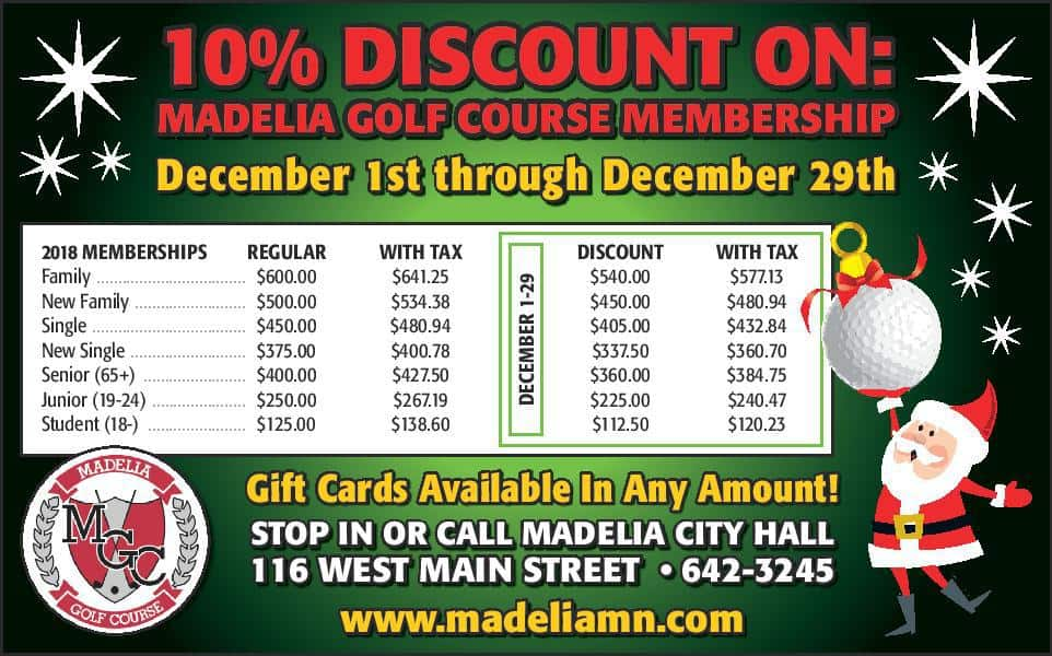 Golf Course December 2018 Membership Discount | City of Madelia